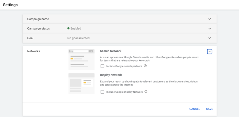 How to turn off Google search partners and Display Network in Google Ads