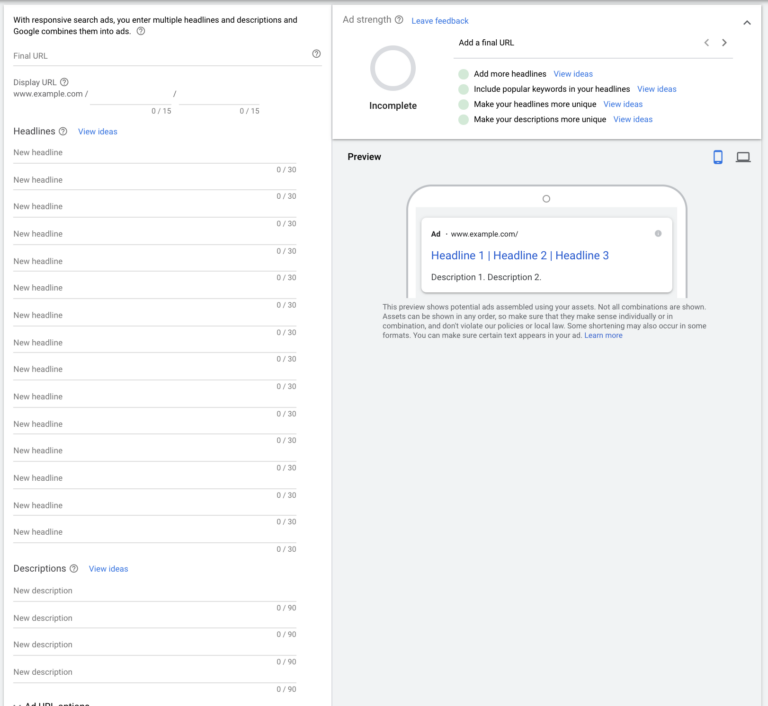 Setting up a Responsive Search Ad in Google Ads