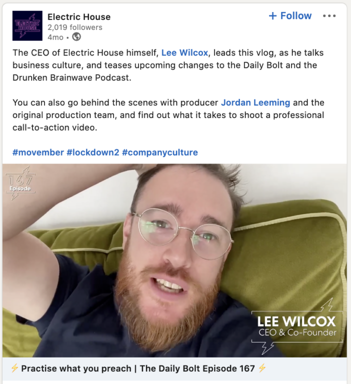 Daily vlog shared to LinkedIn