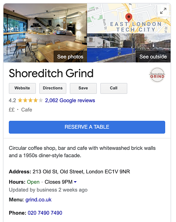 Google My Business profile for Shoreditch Grind