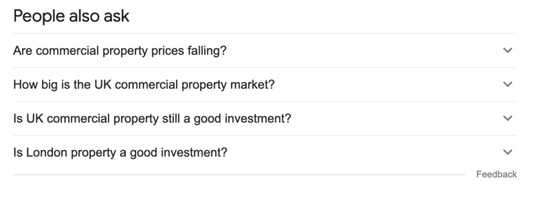 Google Suggest screenshot of People Also Ask with UK commercial property terms