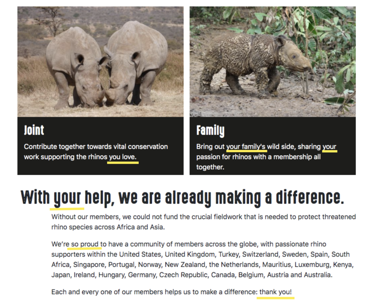 Save the Rhinos uses the Barnum effect